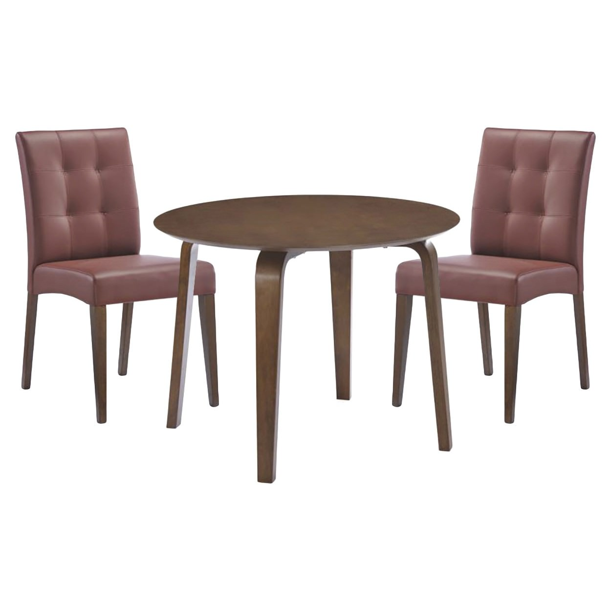Swiss 5 Piece Rubberwood Timber Round Dining Table Set, 100cm