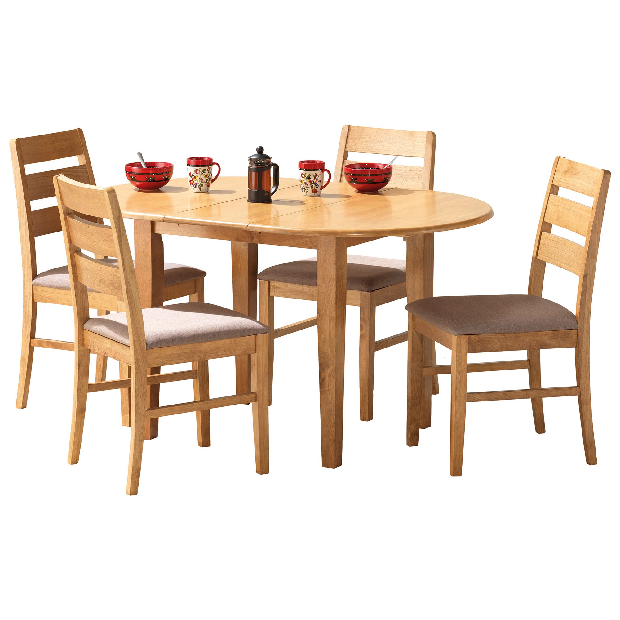 Tapas 5 Piece Rubberwood Timber Extension Dining Table Set, 105-135cm