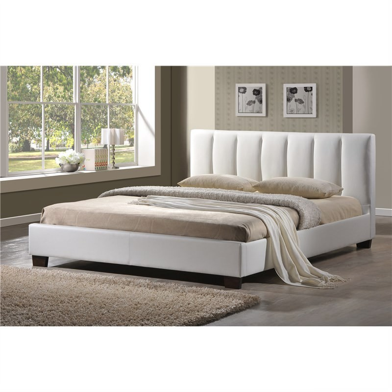 French Style Simple Design PU Leather Queen Bed in White