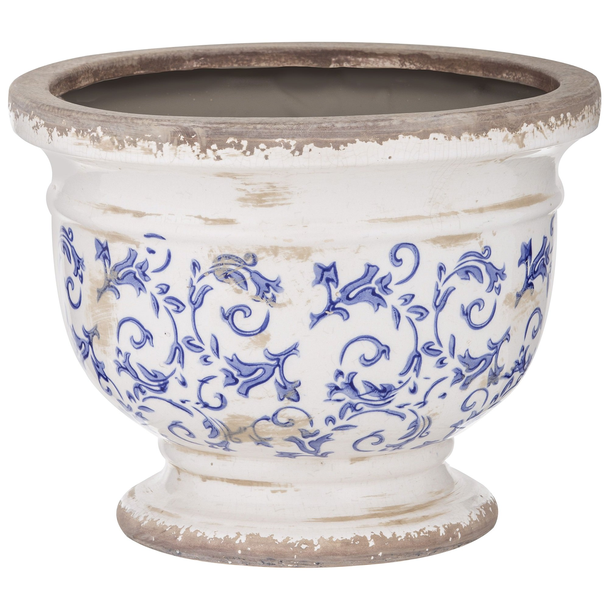 Fleur Ceramic Footed Bowl, Large