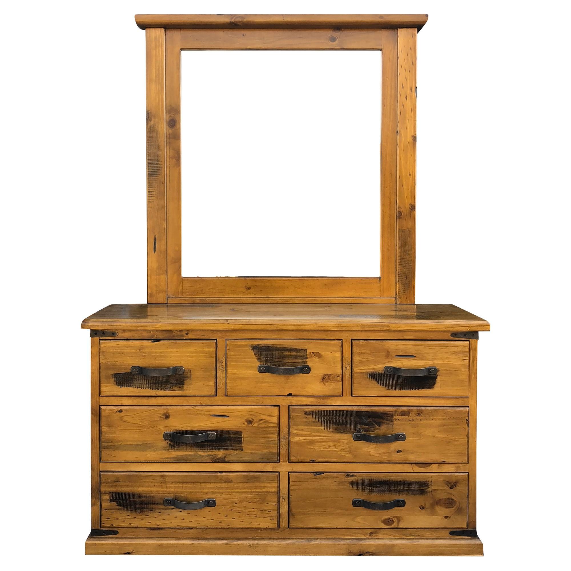 Menora Pine Timber 7 Drawer Dresser with Mirror