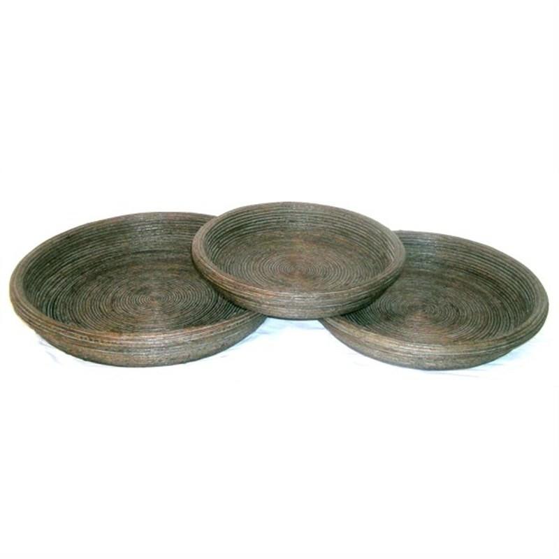 S/3 Round Bamboo Trays