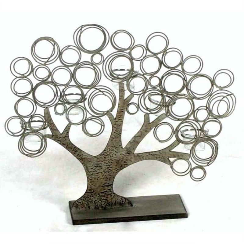 Large Metal Tree On Base With 5 Tealight Candle Holders