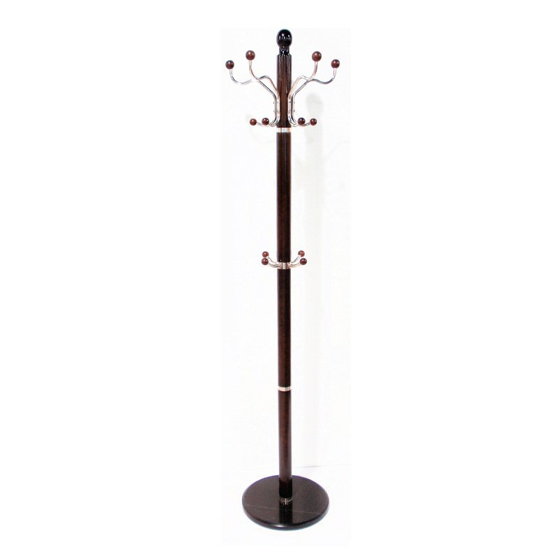 14 Hook Marble Base Clothes Rack in Walnut - 190cm