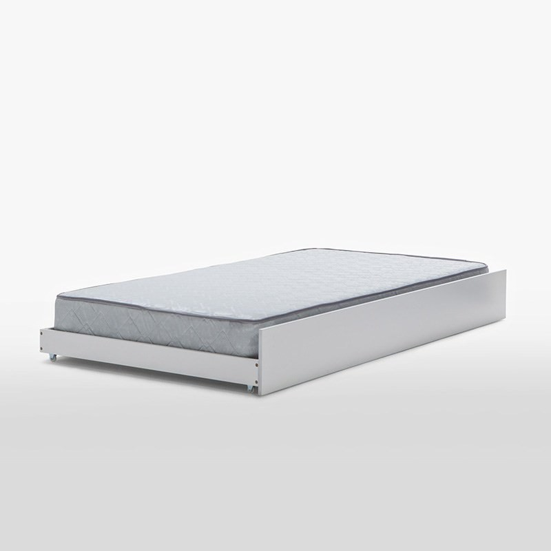 Venice Solid Rubber Wood Trundle Bed, Single, White