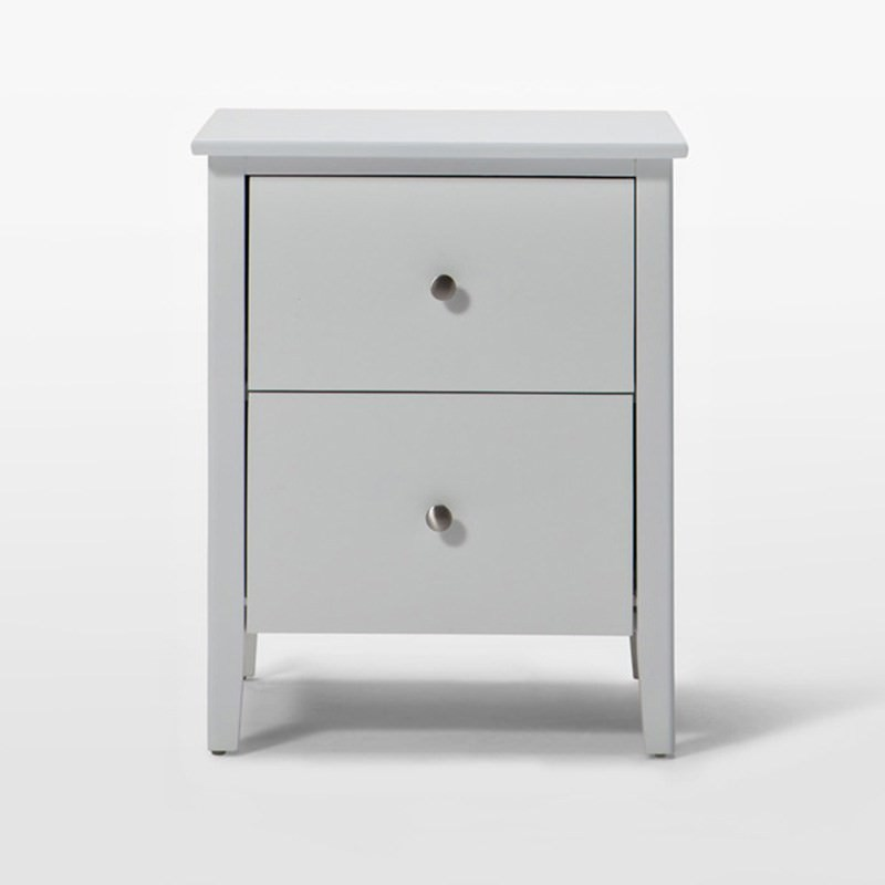 Welton 2 Drawer Solid Rubber Wood Night Stand in White - 56cm