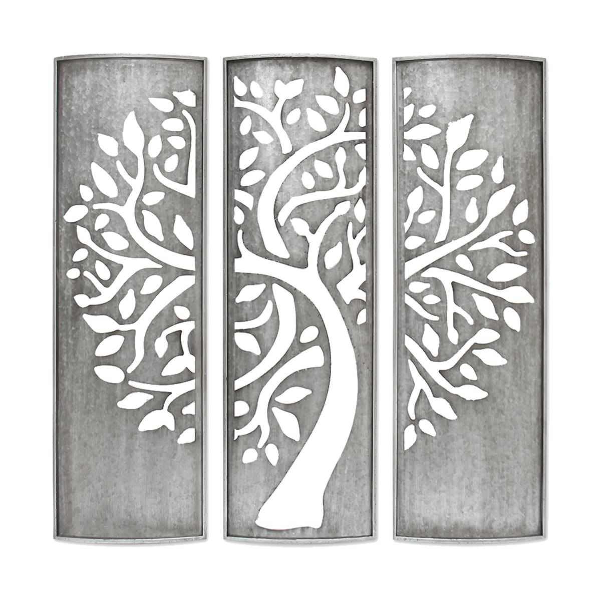 Art Décor: Laser Cut Tree Of Life Galvanised Metal Triptych Wall Art