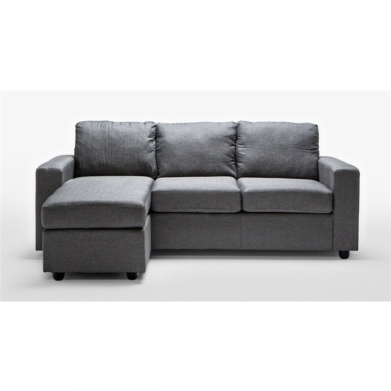 Ella 3-Seater Sofa Lounge With Reversible Chaise In Grey