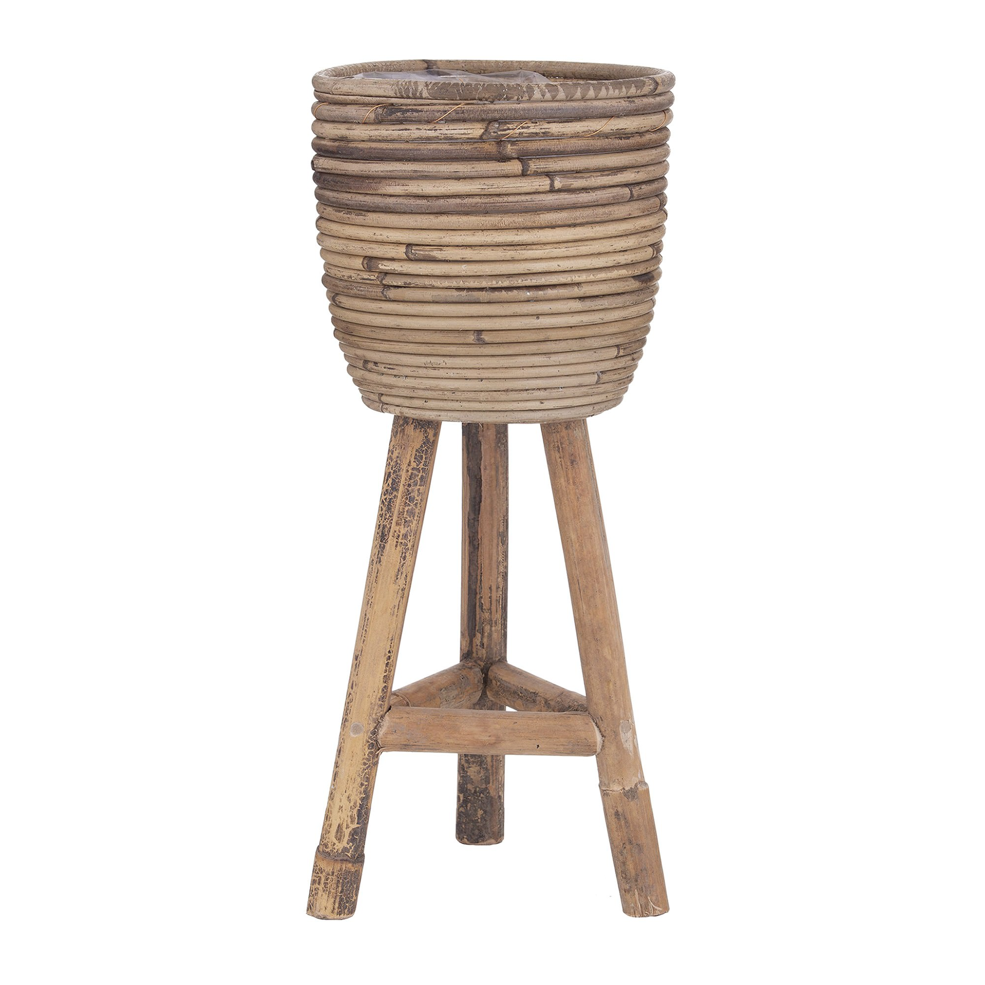 Ryland Bamboo Rattan Planter with Stand, Small