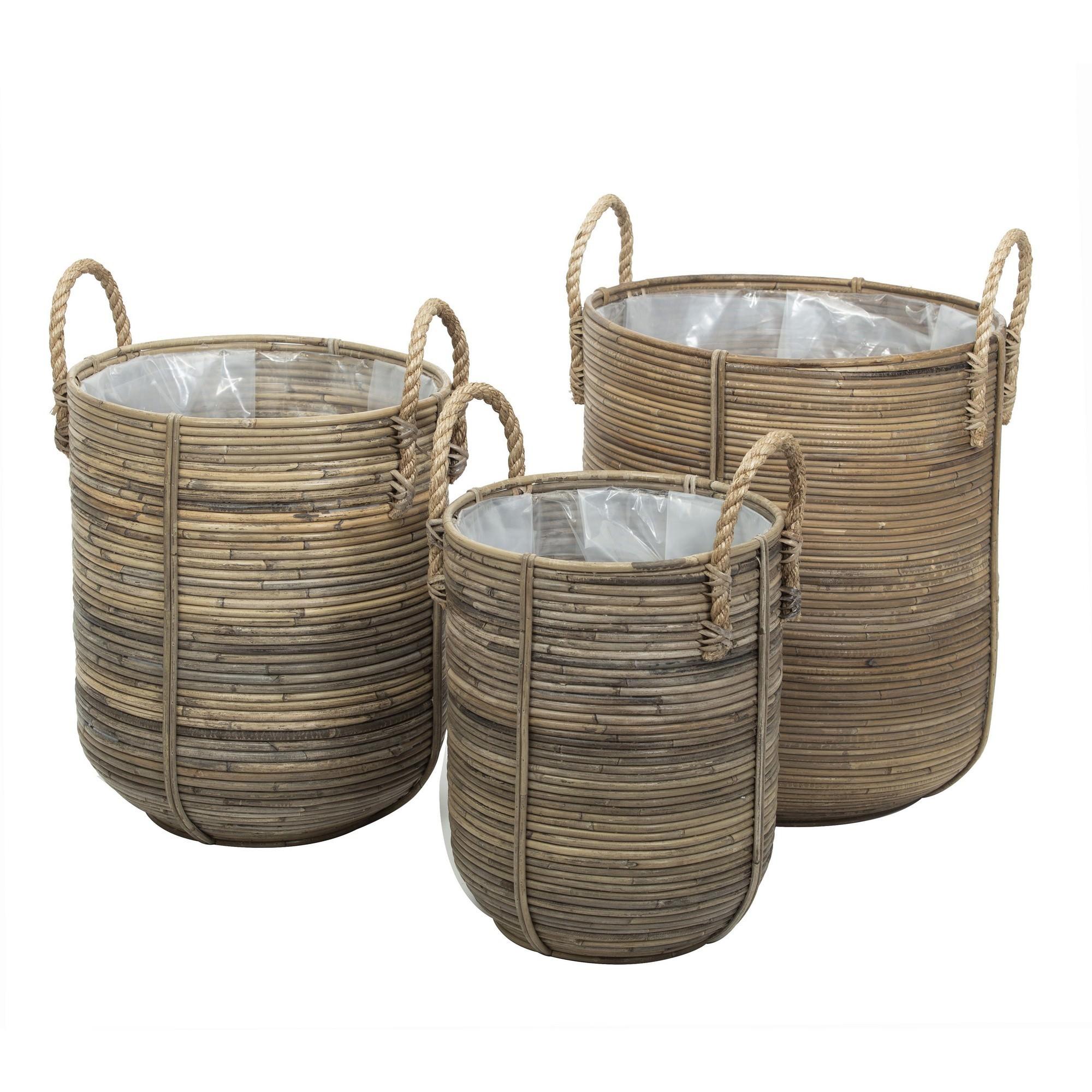 Ryland 3 Piece Bamboo Rattan Round Basket Set
