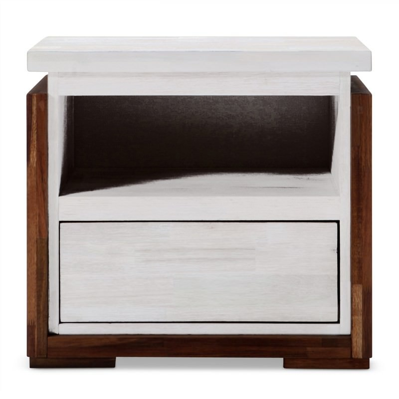 Catalina Solid Rubber Wood Bedside Table - Wire Brush Finish