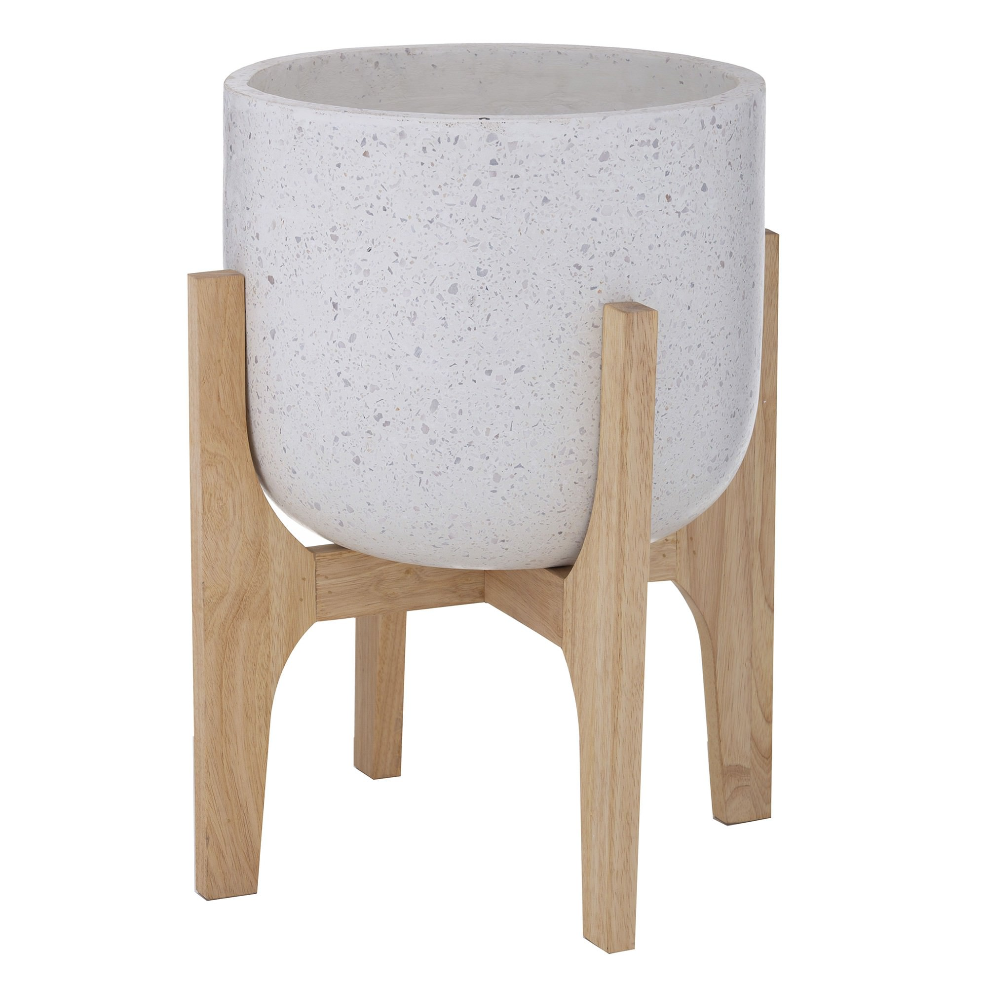 Kiana Terrazzo Planter on Timber Stand, Large, White