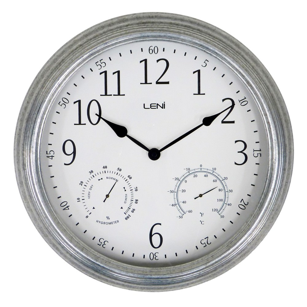 Leni Melvin Steel Outdoor Round Wall Clock, 40cm