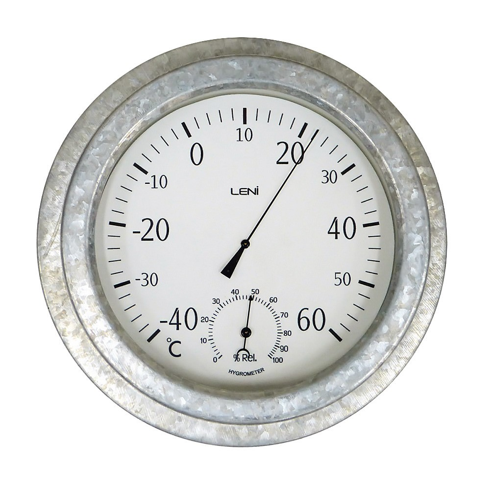 Leni Nava Steel Outdoor Thermometer with Hygrometer, 22cm