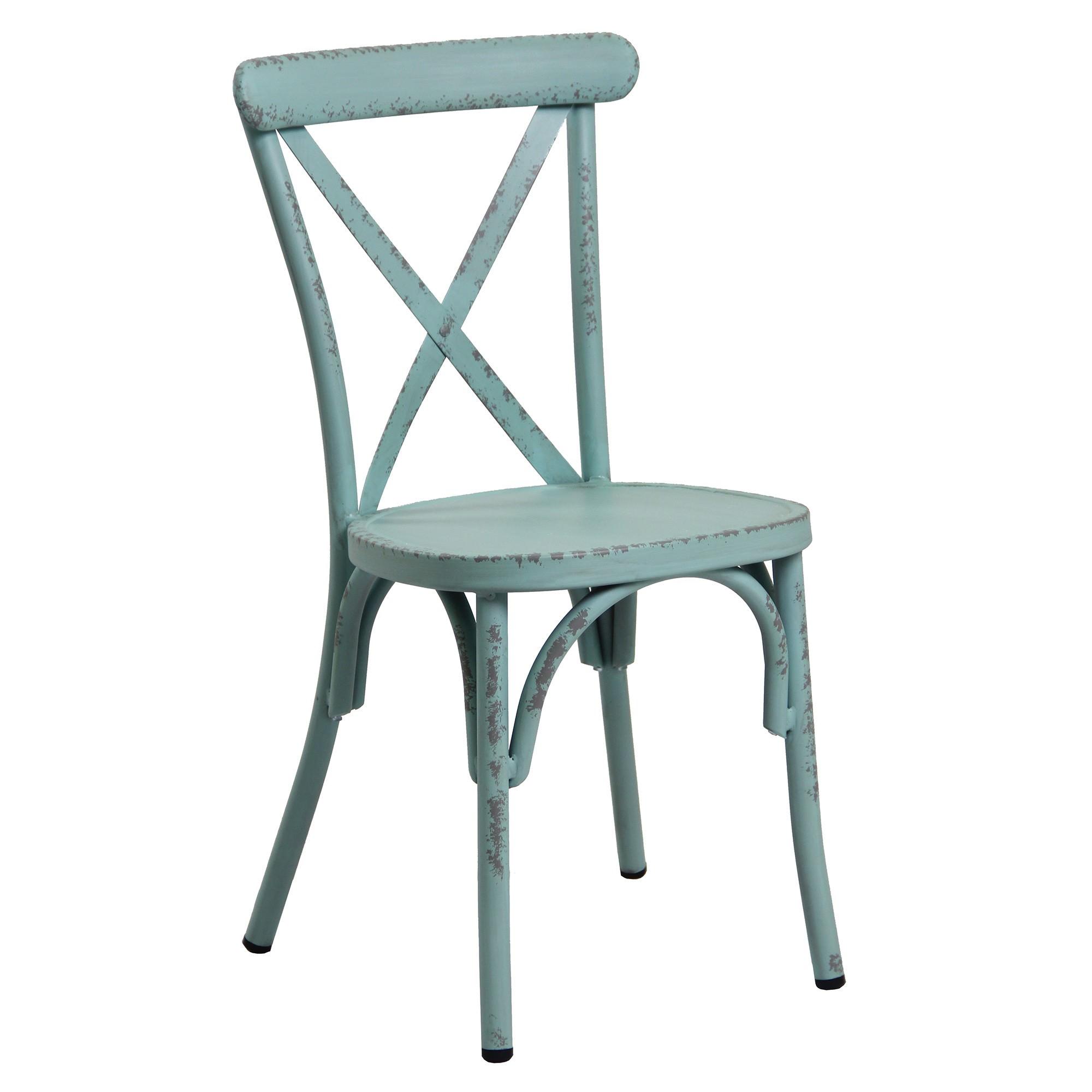 Set of 2 Ochey Commercial Grade Aluminium Indoor / Outdoor Cross Back Dining Chairs, Distressed Duck Egg Blue