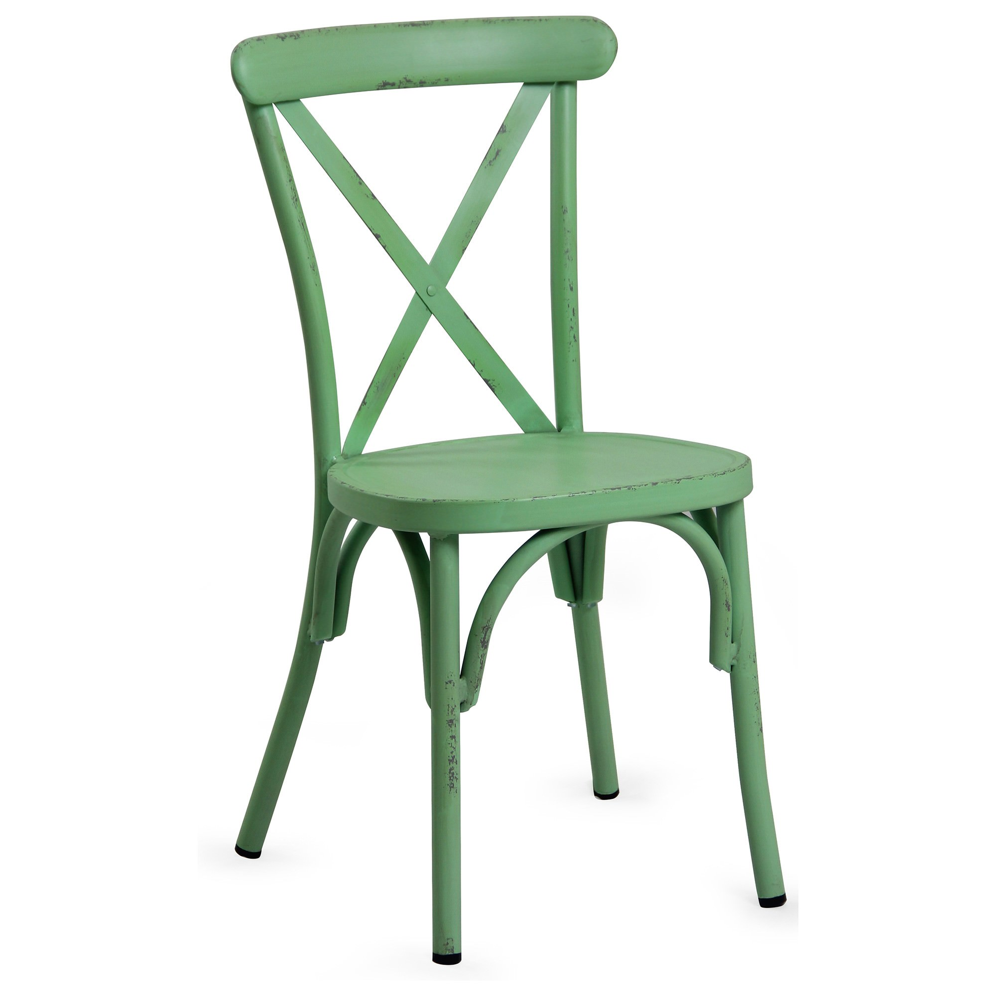 Set of 2 Ochey Commercial Grade Aluminium Indoor / Outdoor Cross Back Dining Chairs, Distressed Green