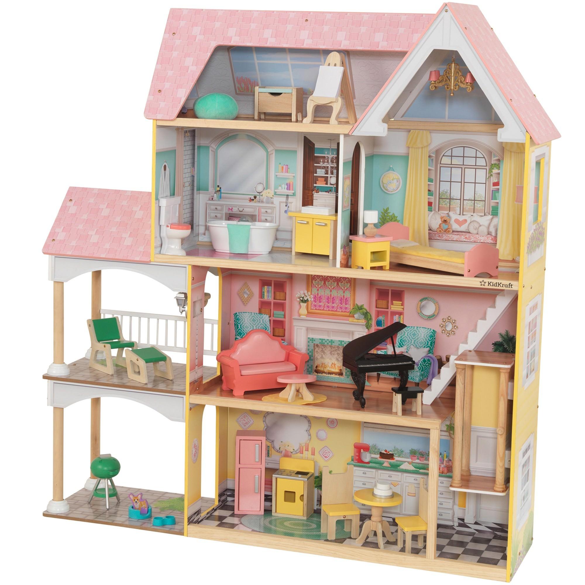 KidKraft Lola Mansion Dollhouse with EZ Kraft Assembly