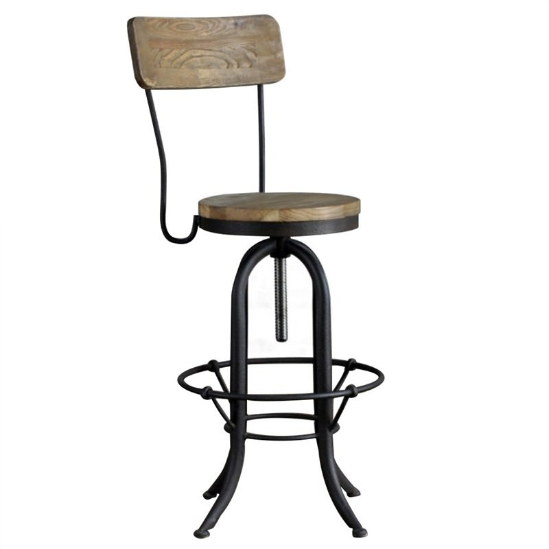 Loft Iron and Solid Elm Timber Adjustable Bar Chair