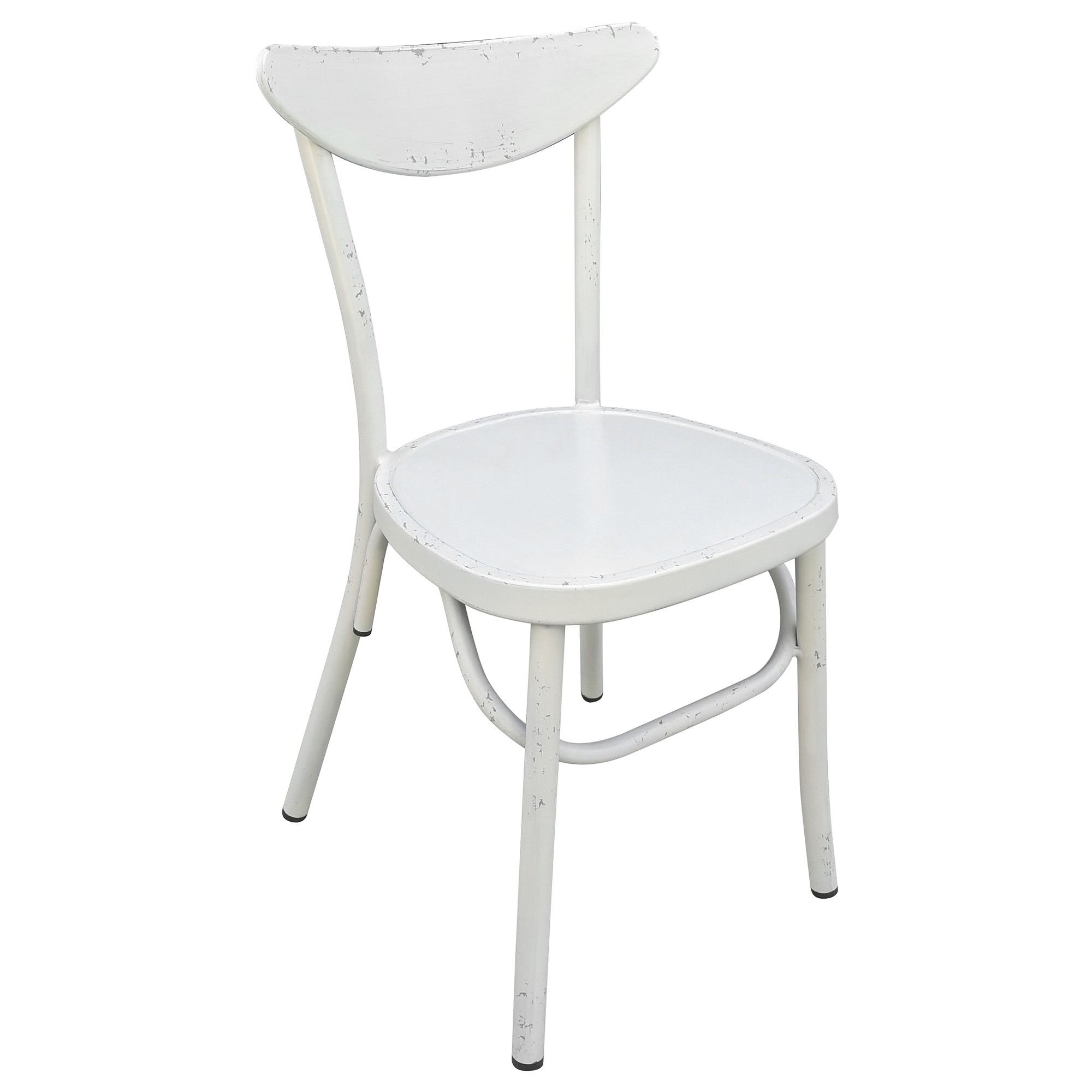Set of 2 Luna Commercial Grade Aluminium Indoor / Outdoor Dining Chairs, Rustic White