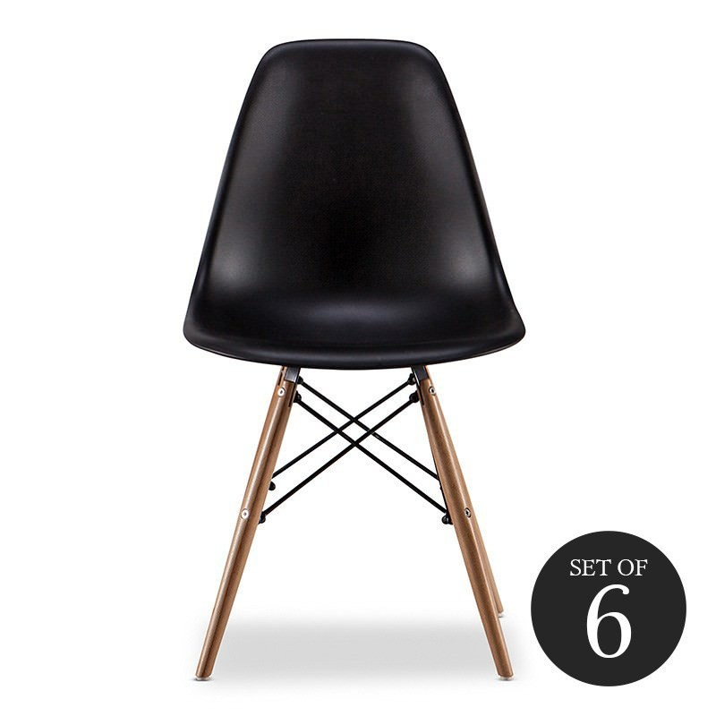 Set of 6 Replica Eames DSW Side Chair - Black