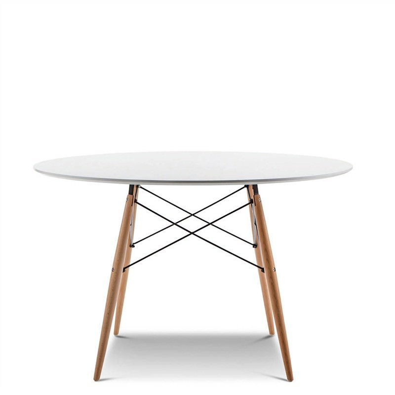 Replica Eames DSW 120cm Round Dining Table with Timber Legs - White