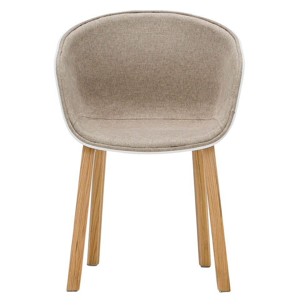 Replica Fabric Hay Scoop Dining Chair, White / Natural