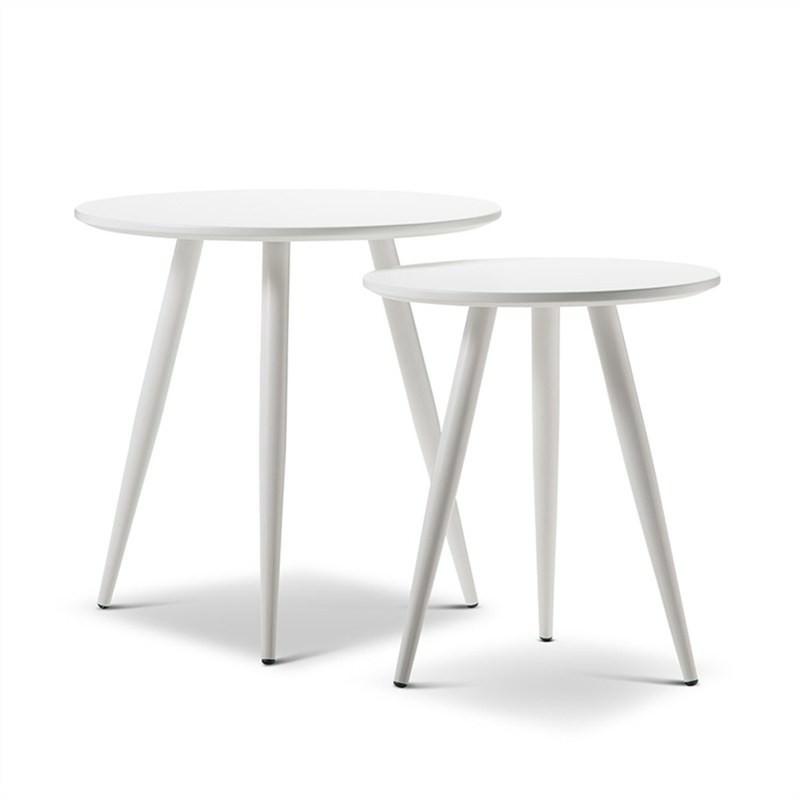 Zetta 2 Piece Round Side Table Set - White