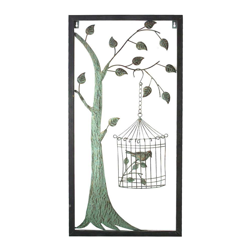 Framed Metal Tree with Hanging Birdcage on Right Wall Art, 80cm