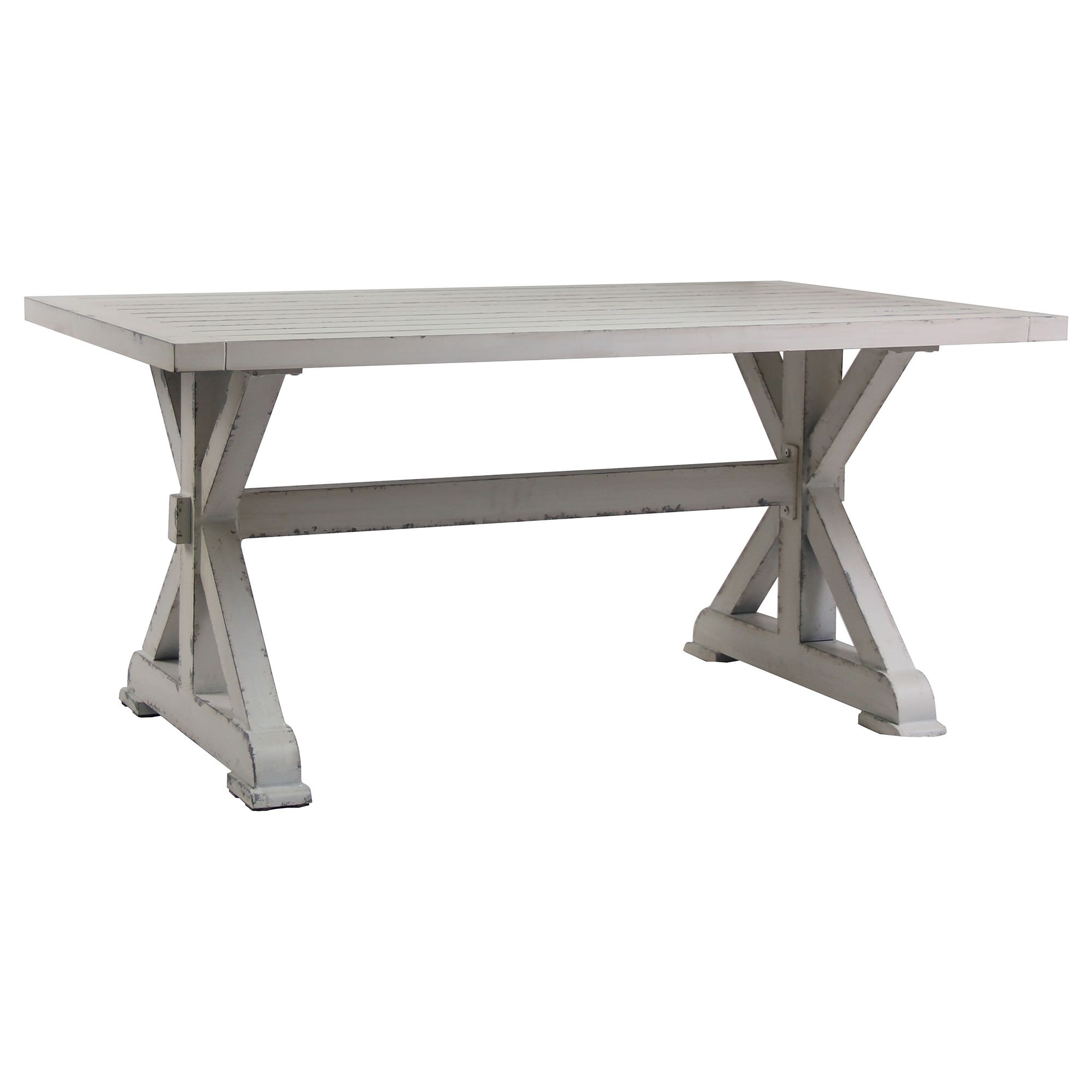 Ochey Commercial Grade Aluminium Indoor / Outdoor Trestle Dining Table, 160cm, Distressed White