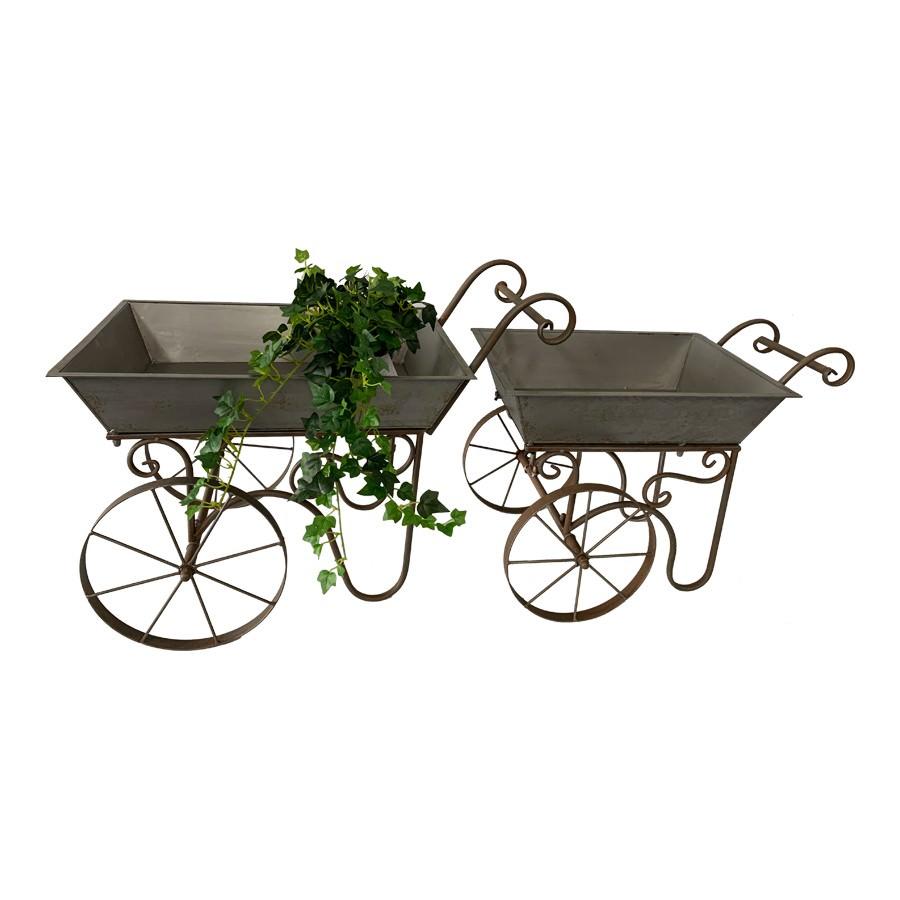 Baroque 2 Piece Iron Flower Cart Set