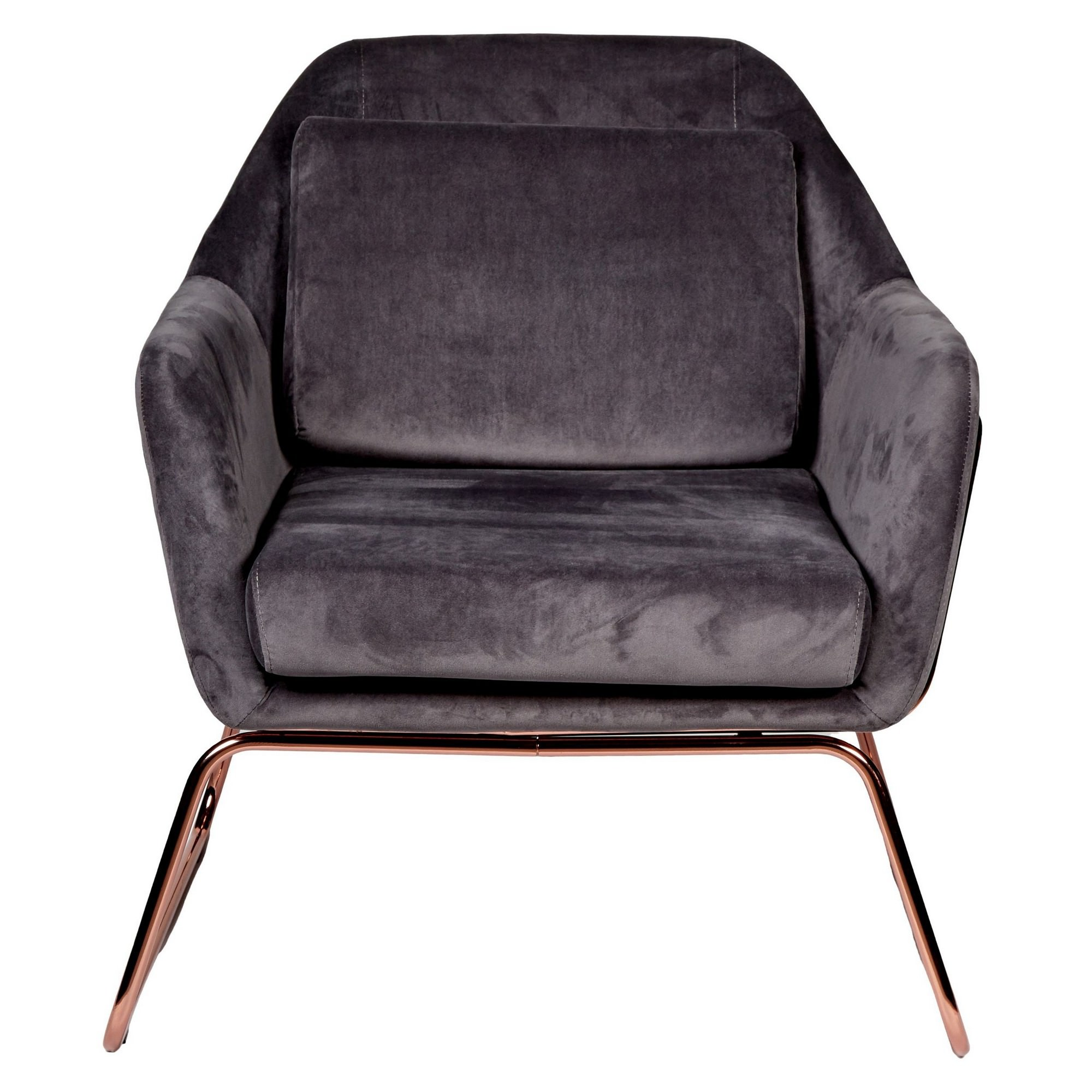 Marco Velvet Fabric Armchair, Dark Grey / Rose Gold