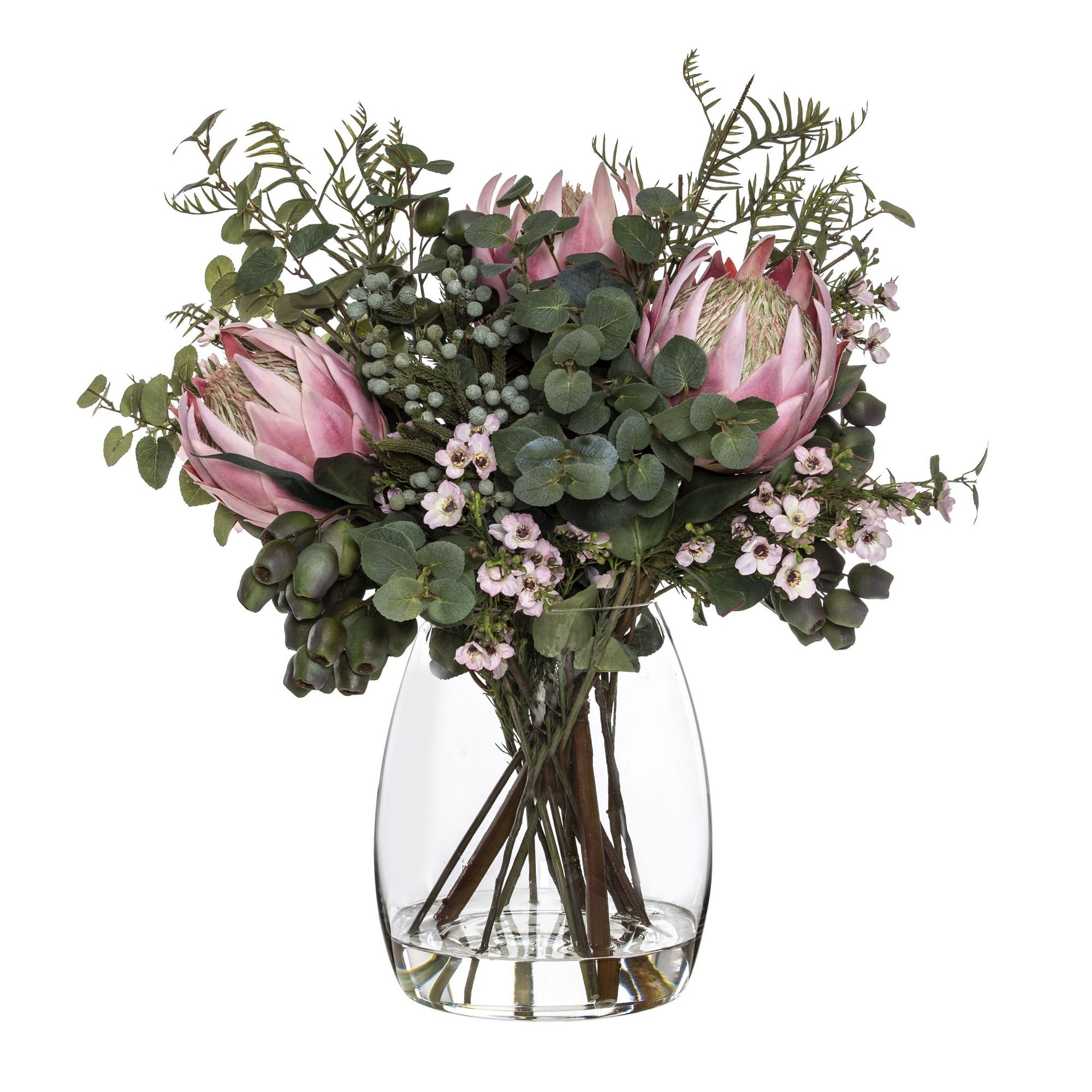 Artificial King Protea & Wax Flowe rin Evelyn Vase, Pink Flower, Large