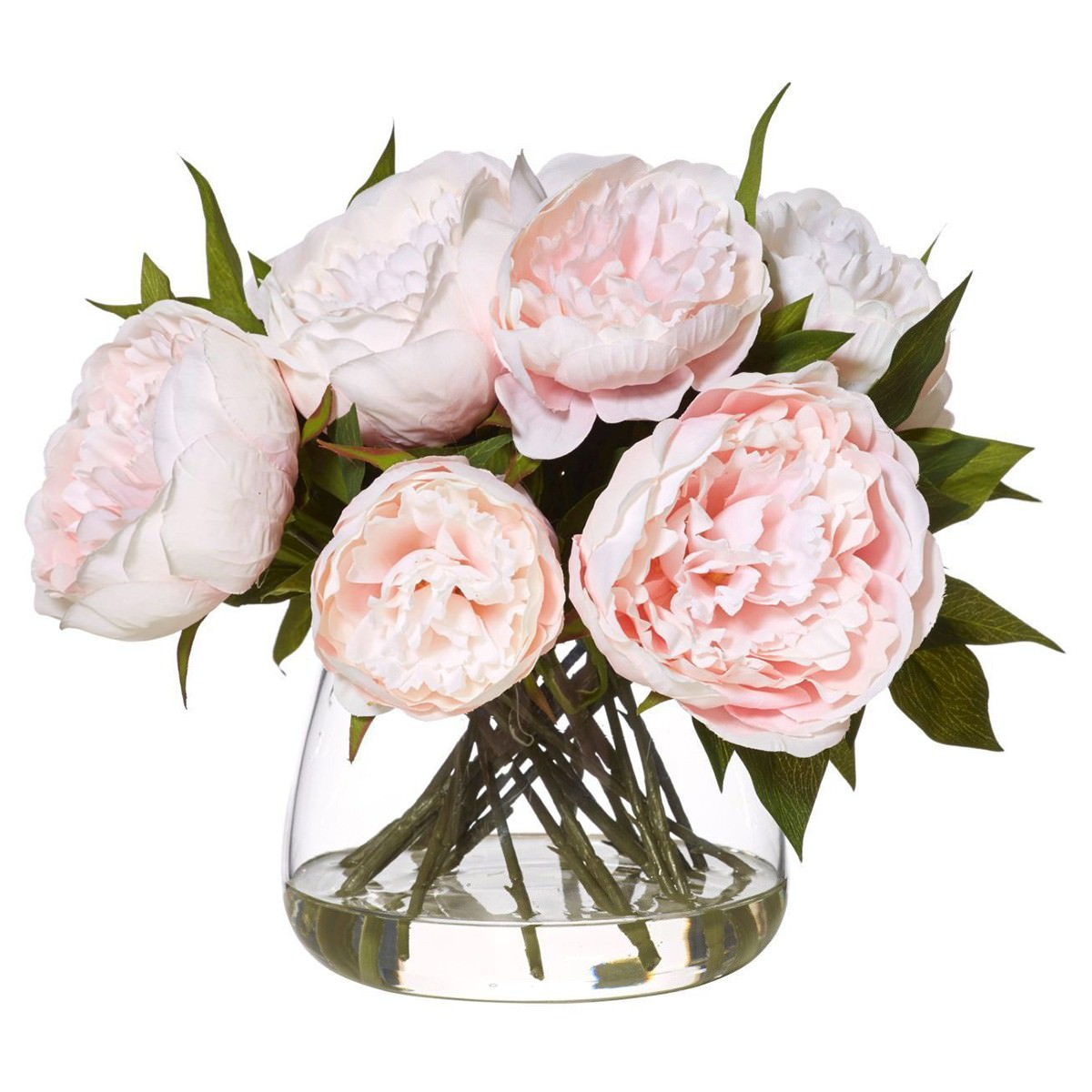 Artificial Peony in Rounded Classic Bowl, Large, Pink Flower