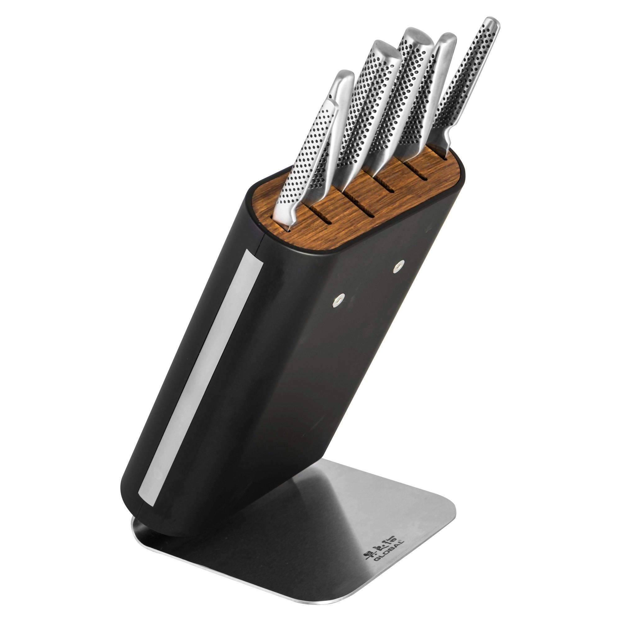 Global Hiro 7 Piece Knife Block Set  - Black