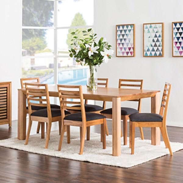 Stride 7 Piece Tasmanian Oak Timber Dining Table Set, 180cm