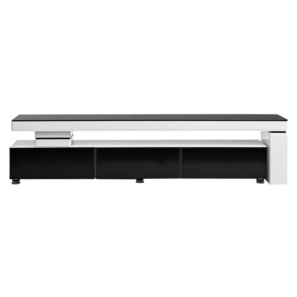 T1900 Modern 3 Drawer Extendable Lowline TV Unit - High Gloss White / Matte Black Finish