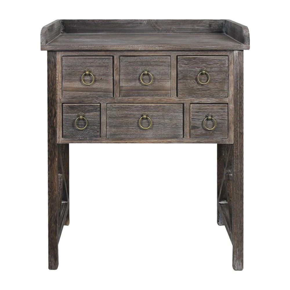 Lorette  Paulownia Timber 6 Drawer Console Table, 66cm, Lime Washed Walnut