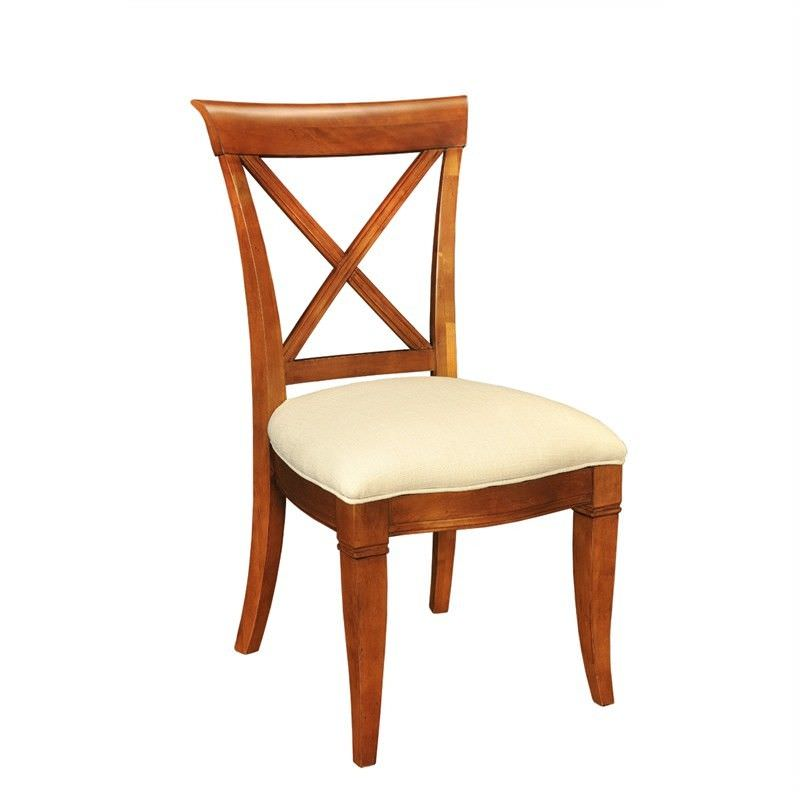 Westminster Solid American Birch Timber Cross Back Dining Chair with Fabric Seat - Cherry Wood Stain