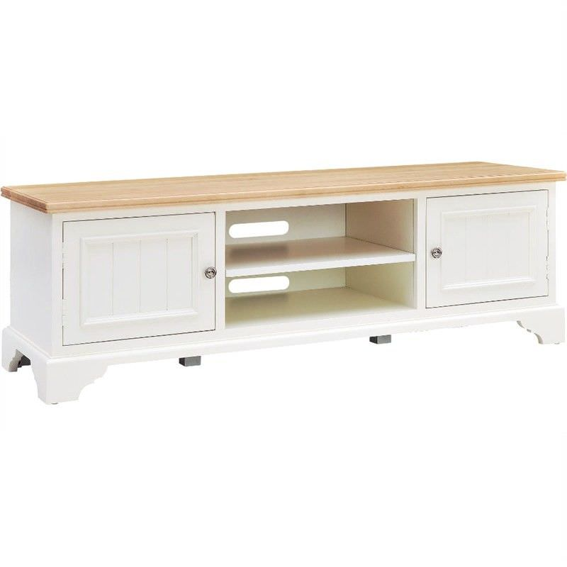 Northleach 150cm Solid American Birch Timber Entertainment Unit - Natural / White
