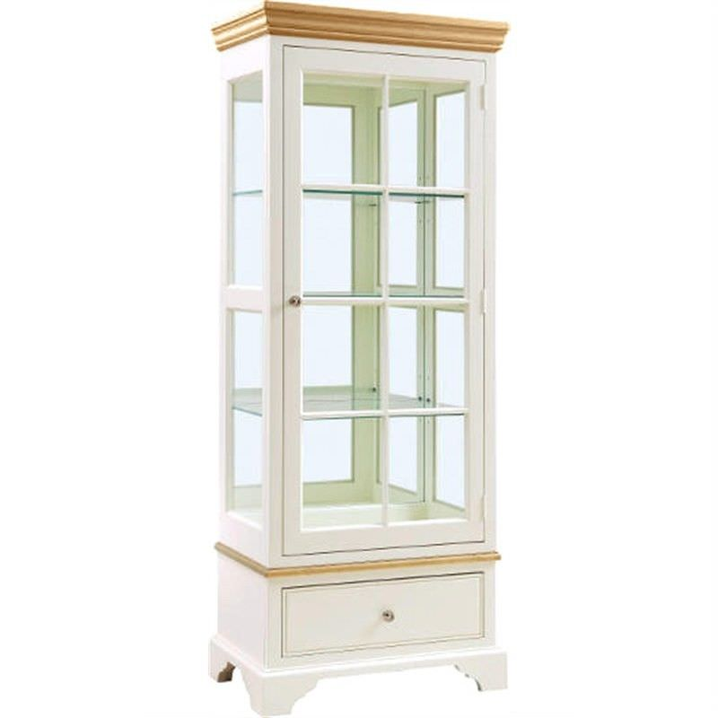 Northleach 180cm Solid American Birch Timber Display Cabinet - Natural / White