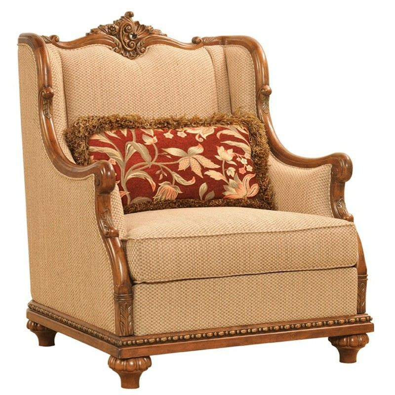 Caesar Fabric Upholstered Birch Timber Armchair