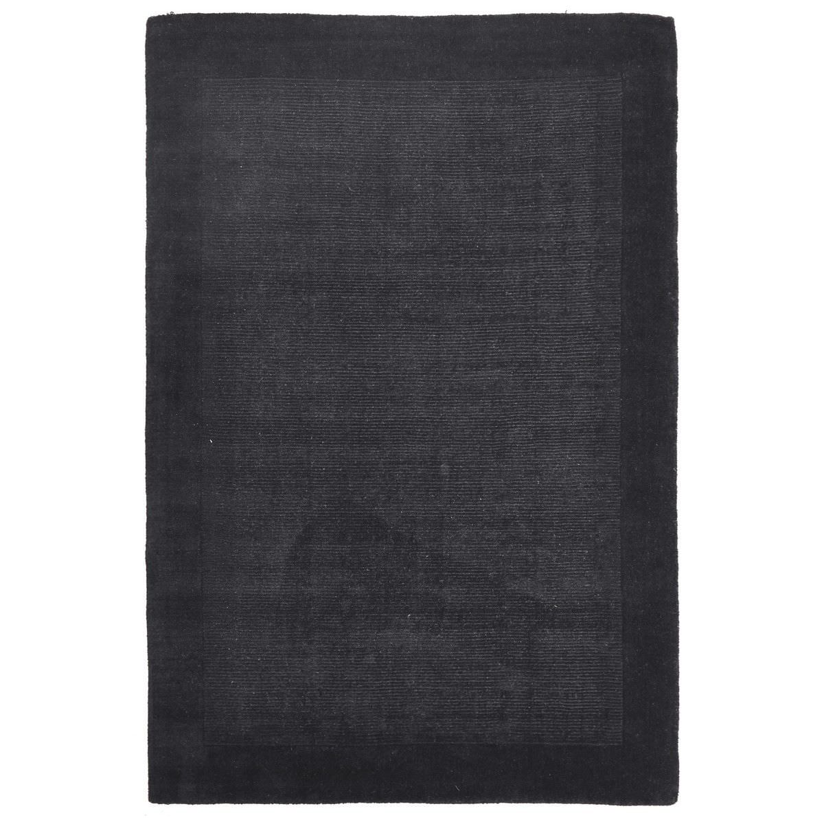 Luxe Hand Tufted Wool Runner Rug, 225x155cm, Charcoal