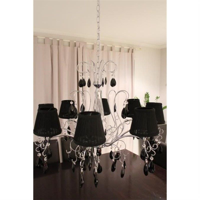 Crystal Ceiling Pendent Chandelier Black Shade Light