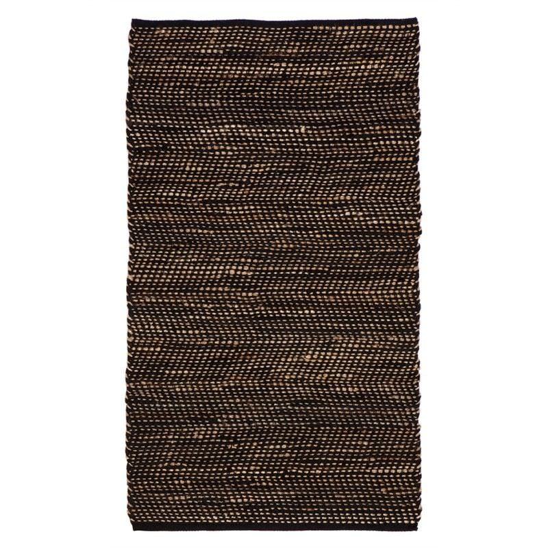 IBIS Hand Woven 90x150cm Cotton and Jute Rug - Black/Natural