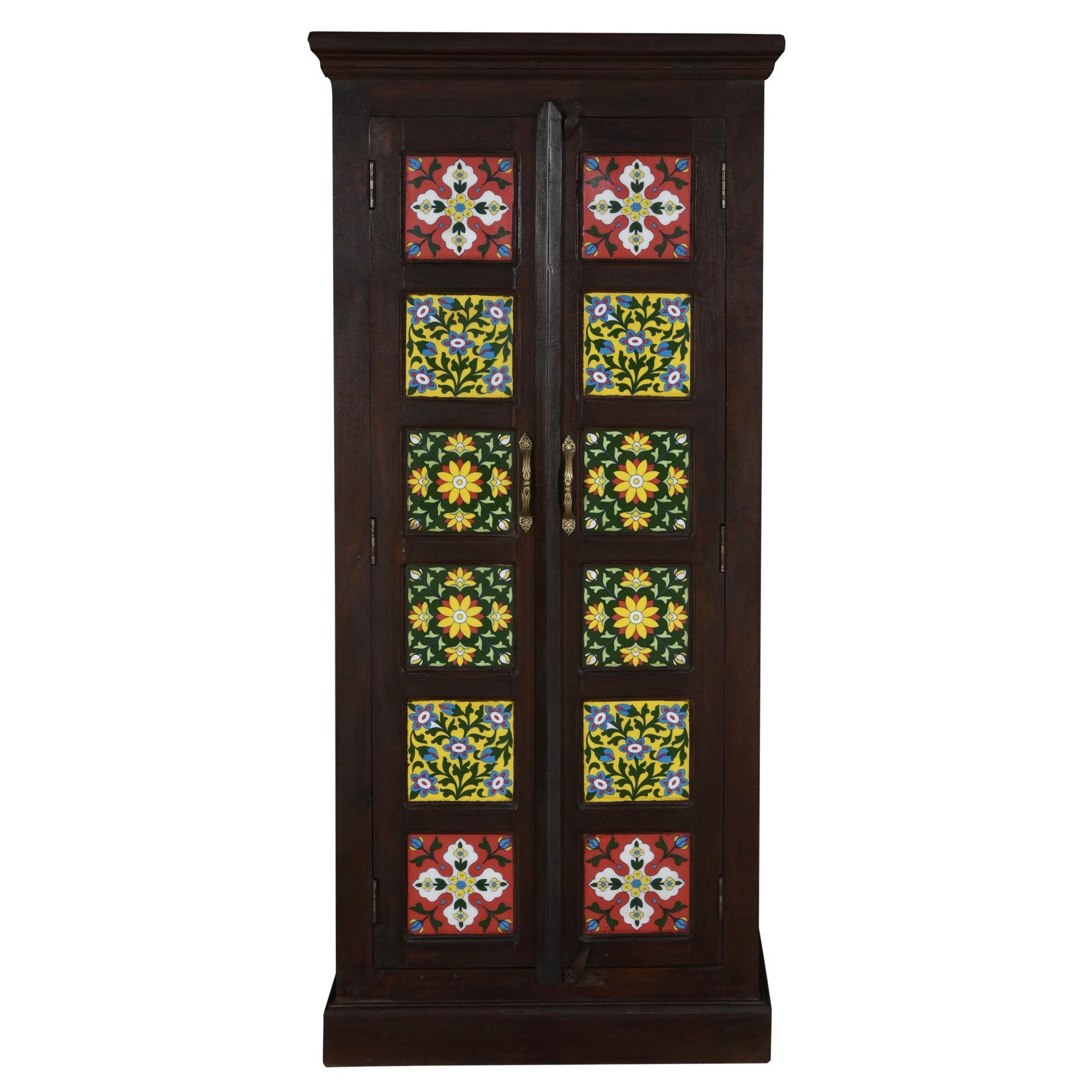 Geru Moroccan Tile Inlay Timber 2 Door Cabinet