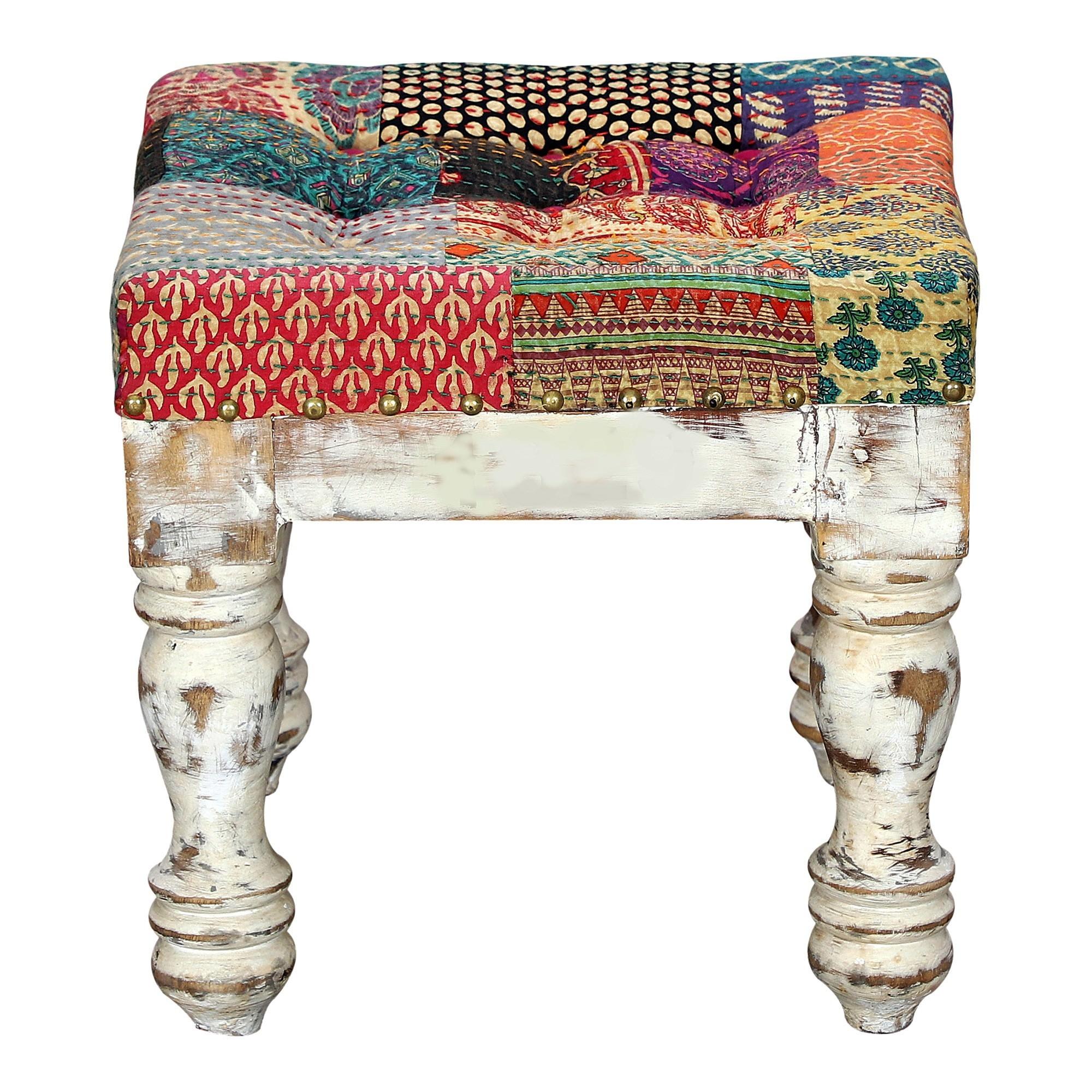Selma Fabric & Timber Ottoman Stool