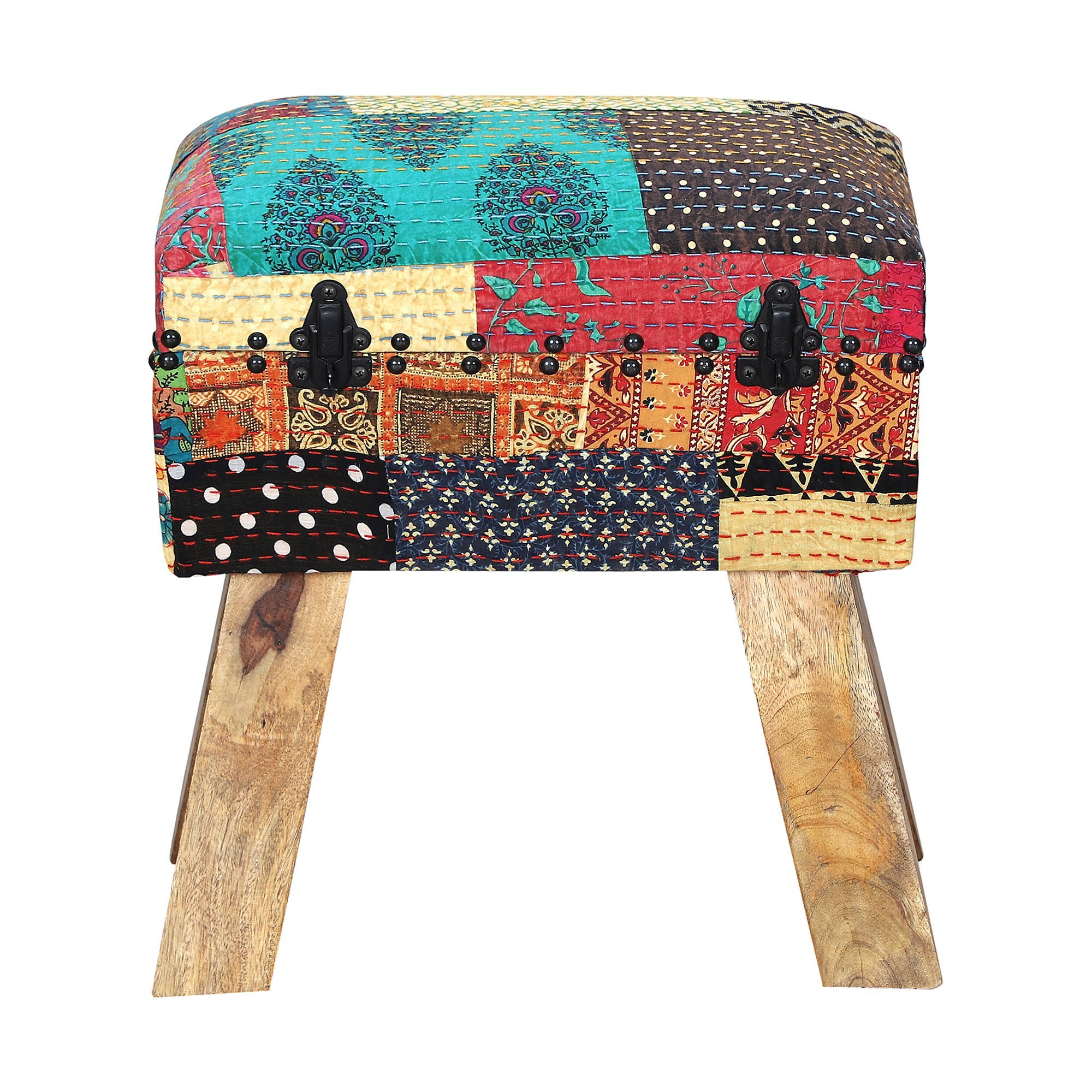 Warsaw Fabric & Timber Ottoman Stool with Storage