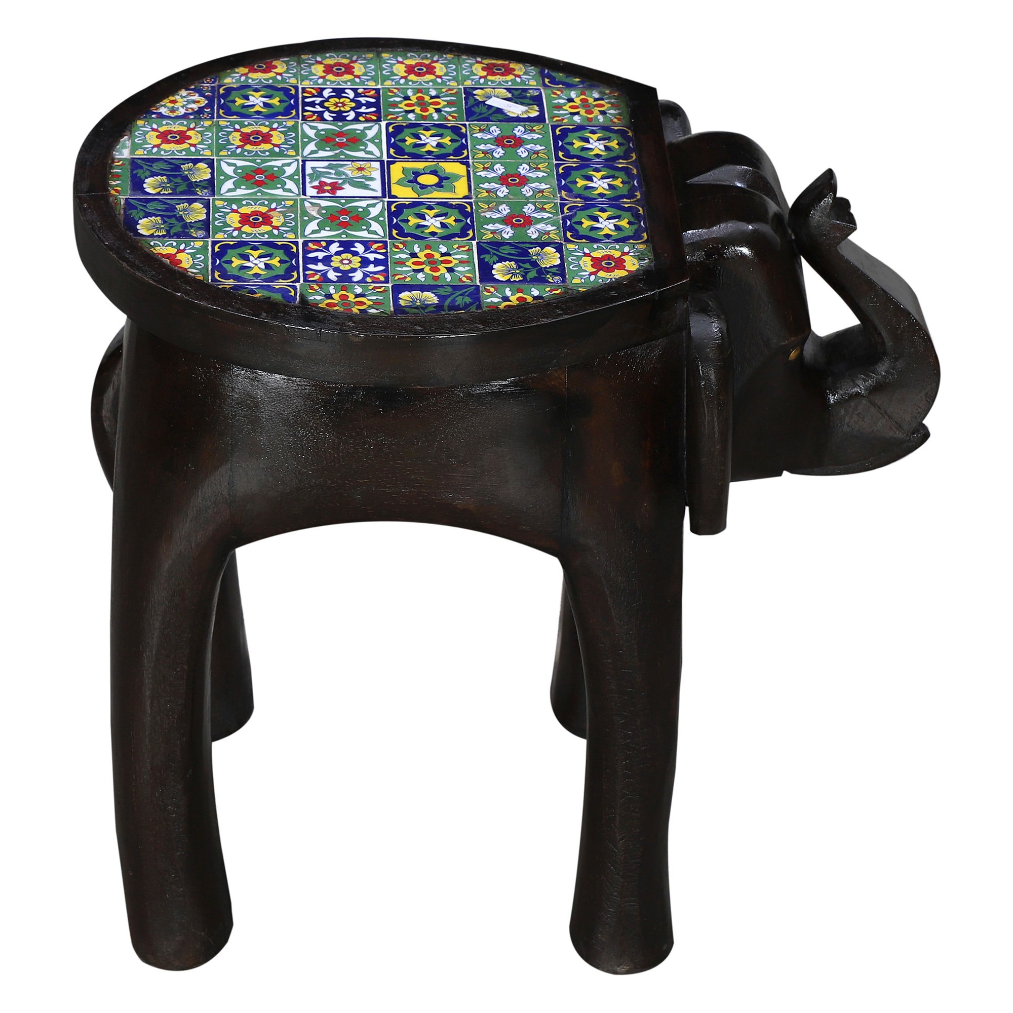 Venturo Moroccan Tile Inlay Timber Elepant Accent Stool / Side Table