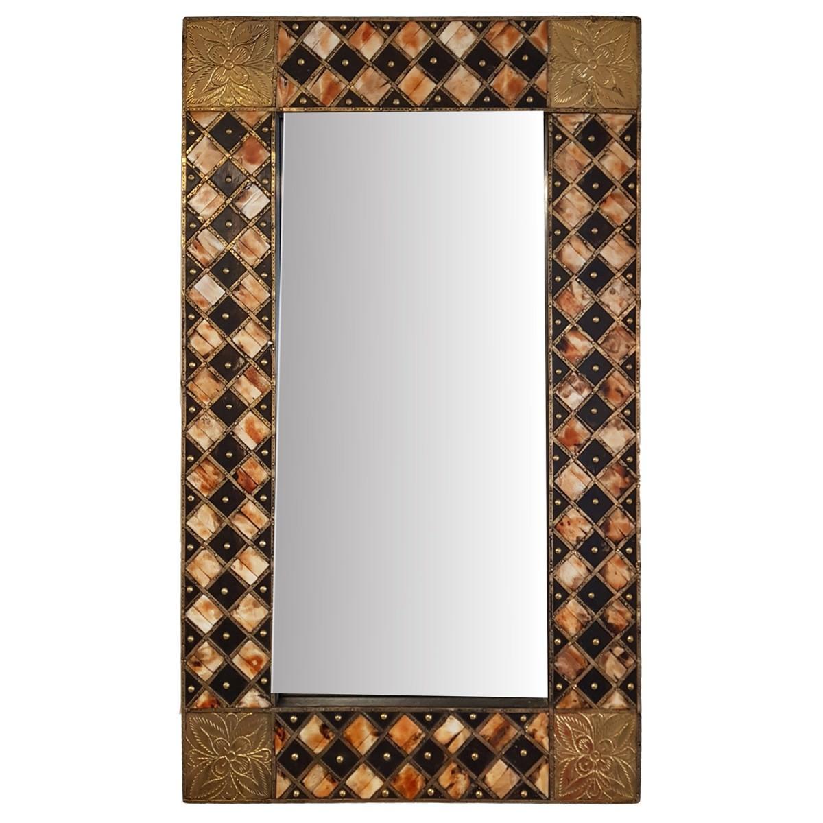Sepil Brass & Bone Inlay Timber Frame Wall Mirror, 61cm