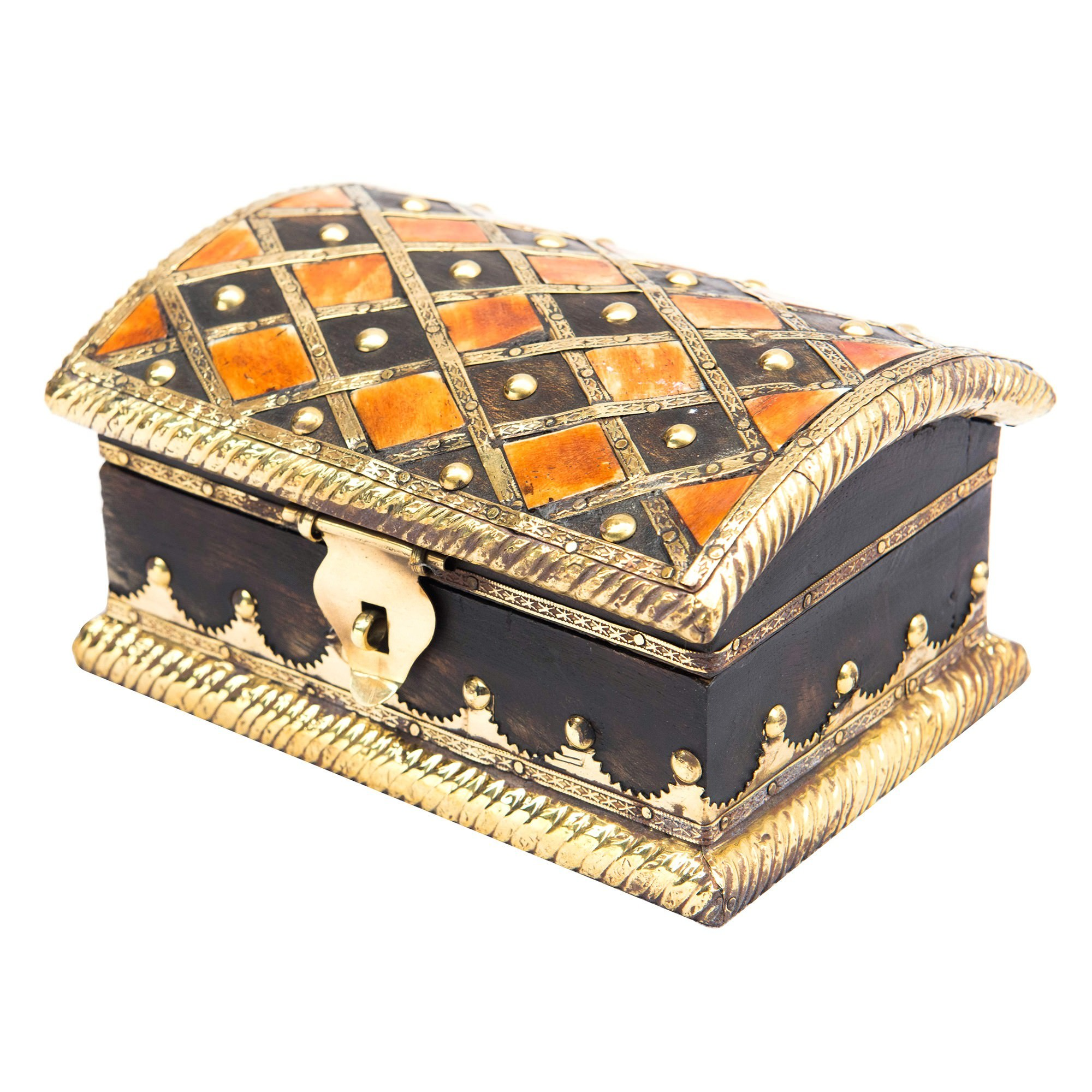 Boga Brass & Bone Inlay Timber Storage Box